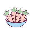 fresh and delicious vegetables inside of bowl vector image vector image