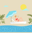 girl on vacation holiday sea beach tropical palms vector image
