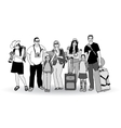 Group tourists people gray scale isolate on white vector image