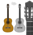 Guitar in engraving style vector image vector image