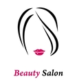 hair salon sign with woman silhouette vector image vector image