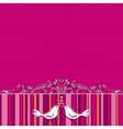 hand draw doves on pink striped background vector image vector image