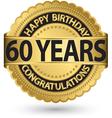 happy birthday 60 years gold label