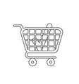icon concept check mark inside shopping cart vector image vector image