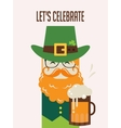Irish man with beer St Patricks Day design vector image