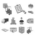 logistics and delivery monochrome icons in set vector image vector image