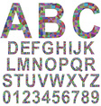 Multicolor mosaic font set vector image vector image
