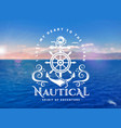 nautical emblem with anchor and steering wheel on vector image
