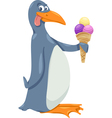 penguin with ice cream cartoon vector image vector image