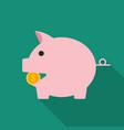 piggy bank flat design icon vector image