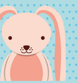 pink female rabbit with dotted background vector image