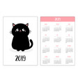 pocket calendar 2019 year week starts sunday vector image vector image