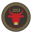 red black tan 2021 year ox chinese new vector image vector image
