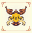 royal badge winged crowns shield vector image