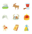 rural life icons set cartoon style vector image vector image