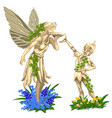 sculpture of fairy with wings and cheerful boy vector image vector image