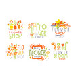 set abstract logos for a flower shop vector image