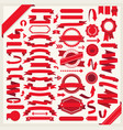 set blank labels in red isolated on white vector image