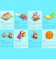 set of posters dedicated to studying at school vector image vector image