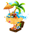 Summer theme with suitcase and beach vector image