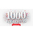 thank you for followers banner over confetti vector image