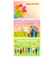 three horizontal cards of spring labor day in may vector image