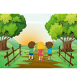 Three kids watching the sunset vector image vector image