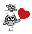 two owls in love and red heart vector image vector image