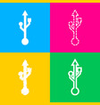 usb sign four styles of icon on four vector image vector image