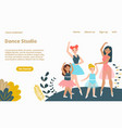 woman dance studio landing web page concept vector image vector image