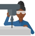 Woman working with boring mill vector image vector image