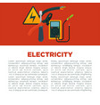electricity informative poster with equipment and vector image