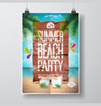 summer beach party flyer design with typographic vector image