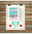 Happy Valentines Day Party Poster Design Template vector image