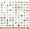 100 megalopolis advertising icons set flat style vector image vector image