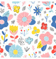 abstract happy flowers pattern vector image vector image