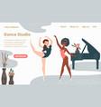 ballet school dance studio landing web page vector image vector image