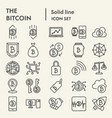 bitcoin line icon set crypto symbols collection vector image vector image