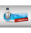 Blue glossy button with cute snowman Winter design vector image