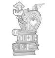 Bookworm doodle vector image vector image