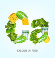 calcium in food lettering vector image