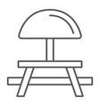 camping table thin line icon furniture and travel vector image vector image