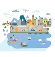 Cartoon flat city with river and mountains vector image vector image