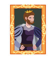 cartoon portrait of king in golden frame vector image vector image
