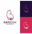 cat book logo design inspiration vector image vector image