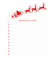 christmas wish list with santa sleigh template vector image vector image