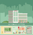 city hospital building in flat style icon set vector image vector image