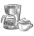 cup with coffee and machine for brewing drink vector image vector image