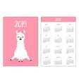 cute alpaca llama girl simple pocket calendar vector image