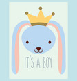 cute blue rabbit head wearing crown baby shower vector image